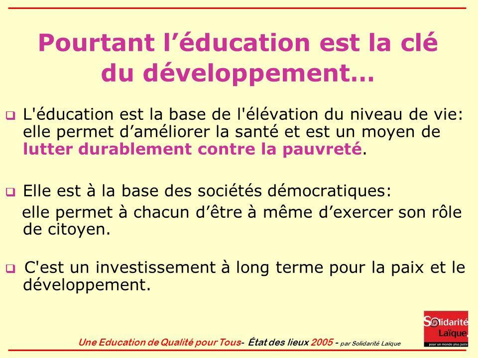 Pourtant l'éducation est la clé du développement…