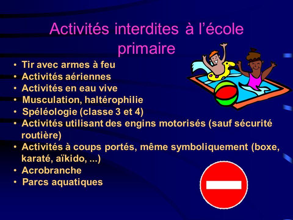 Activités interdites à l'école primaire