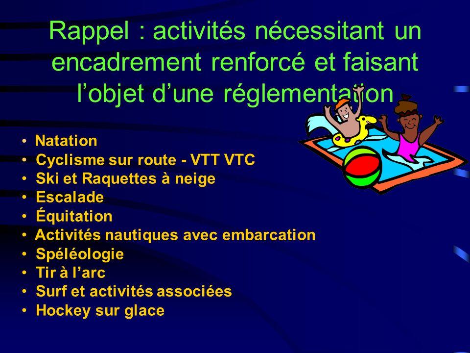 Rappel : activités nécessitant un encadrement renforcé et faisant l'objet d'une réglementation