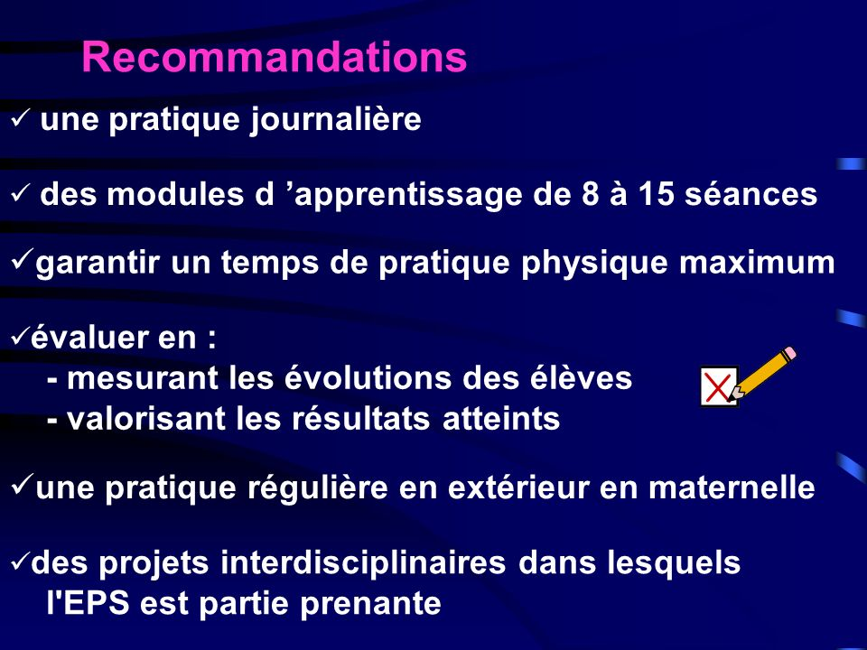 Recommandations garantir un temps de pratique physique maximum
