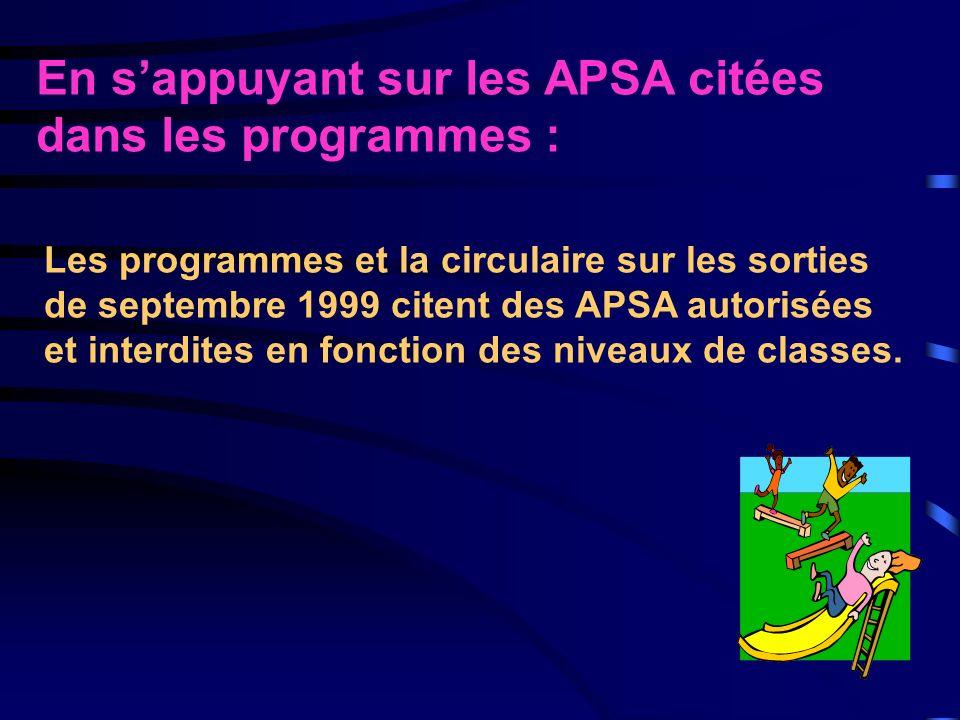 En s'appuyant sur les APSA citées dans les programmes :