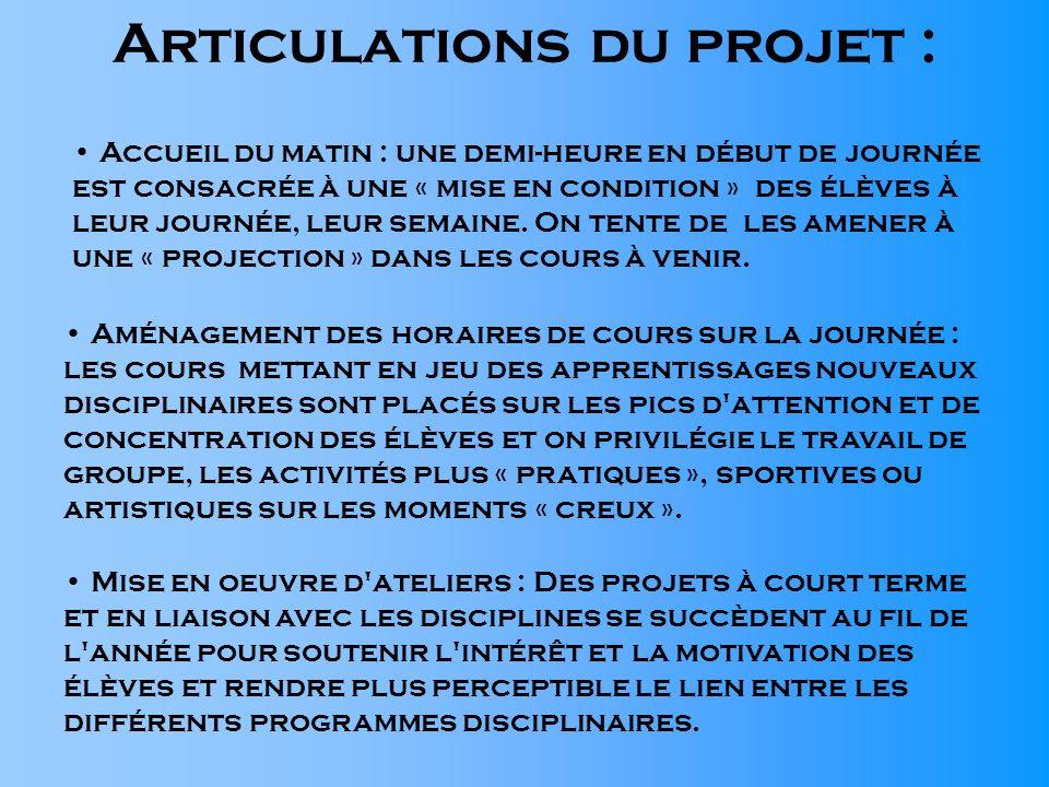 Articulations du projet :