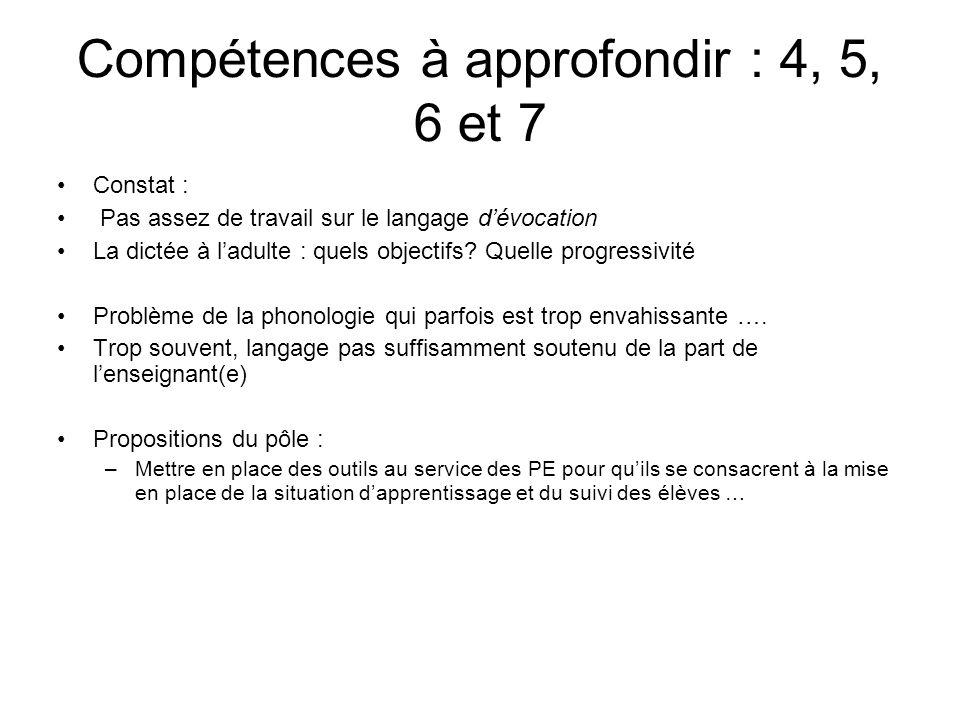 Compétences à approfondir : 4, 5, 6 et 7
