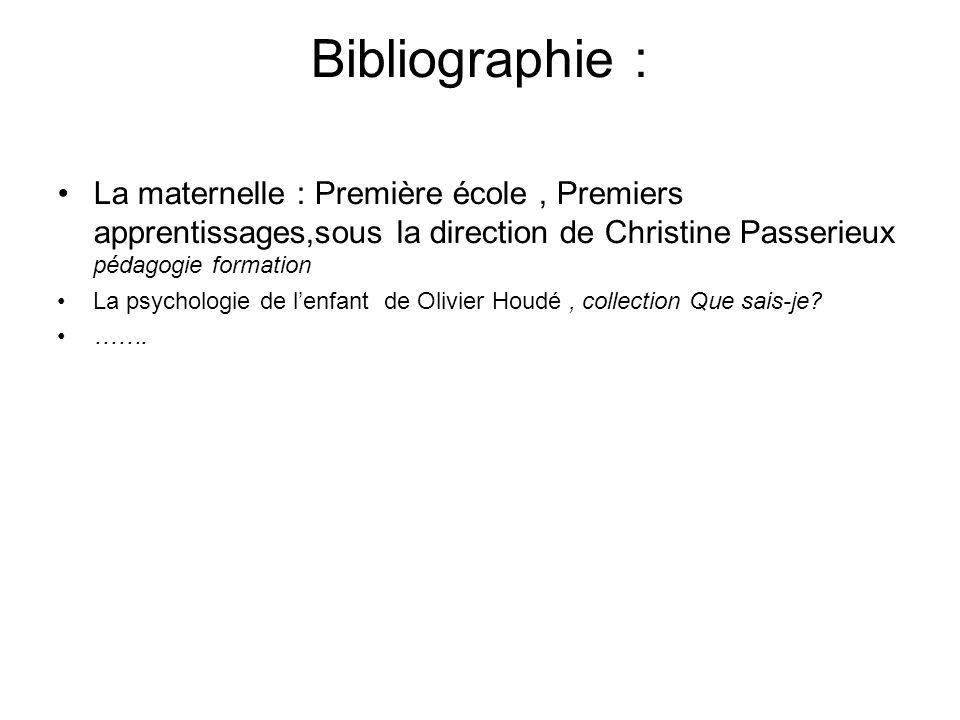 Bibliographie : La maternelle : Première école , Premiers apprentissages,sous la direction de Christine Passerieux pédagogie formation.