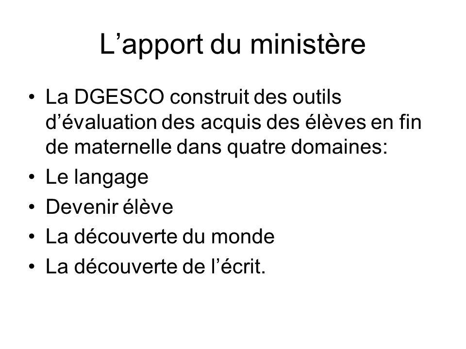 L'apport du ministère La DGESCO construit des outils d'évaluation des acquis des élèves en fin de maternelle dans quatre domaines: