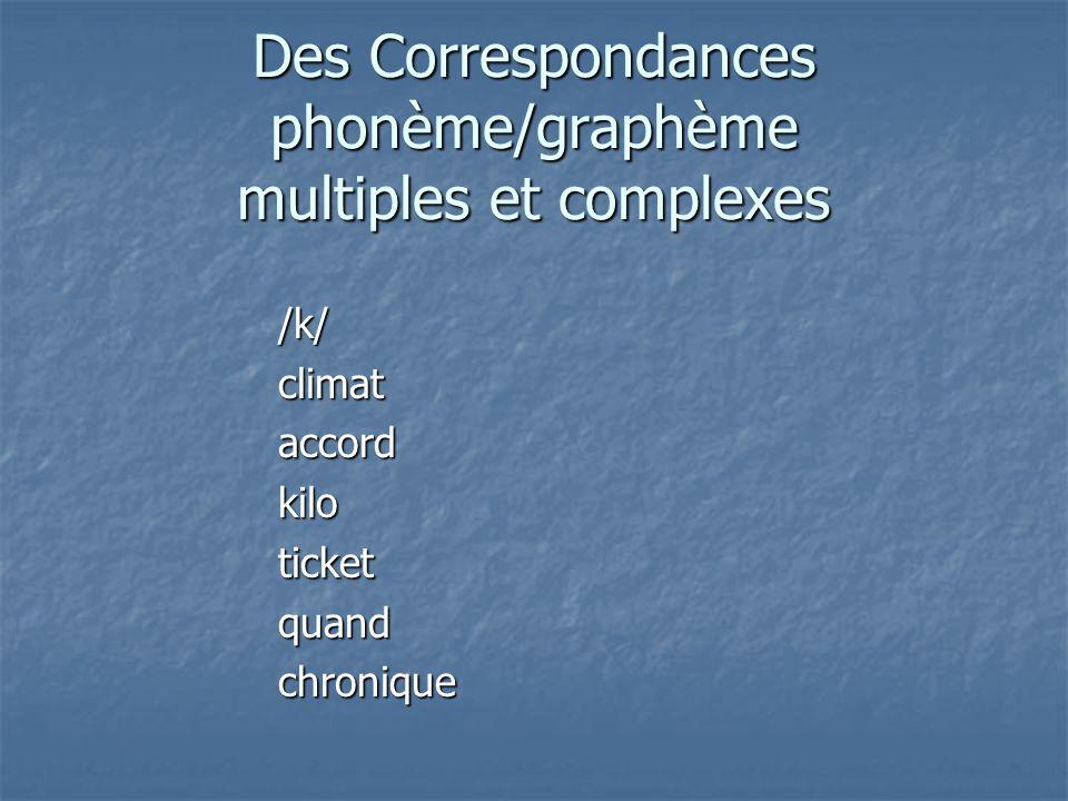Des Correspondances phonème/graphème multiples et complexes