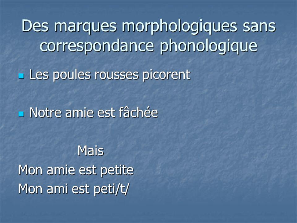 Des marques morphologiques sans correspondance phonologique
