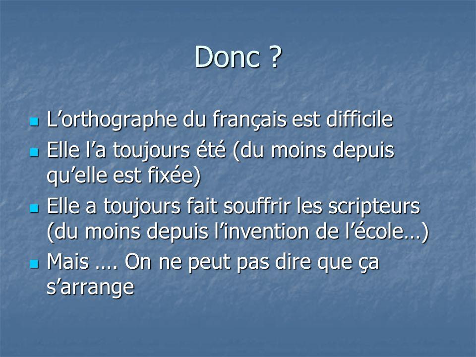 Donc L'orthographe du français est difficile