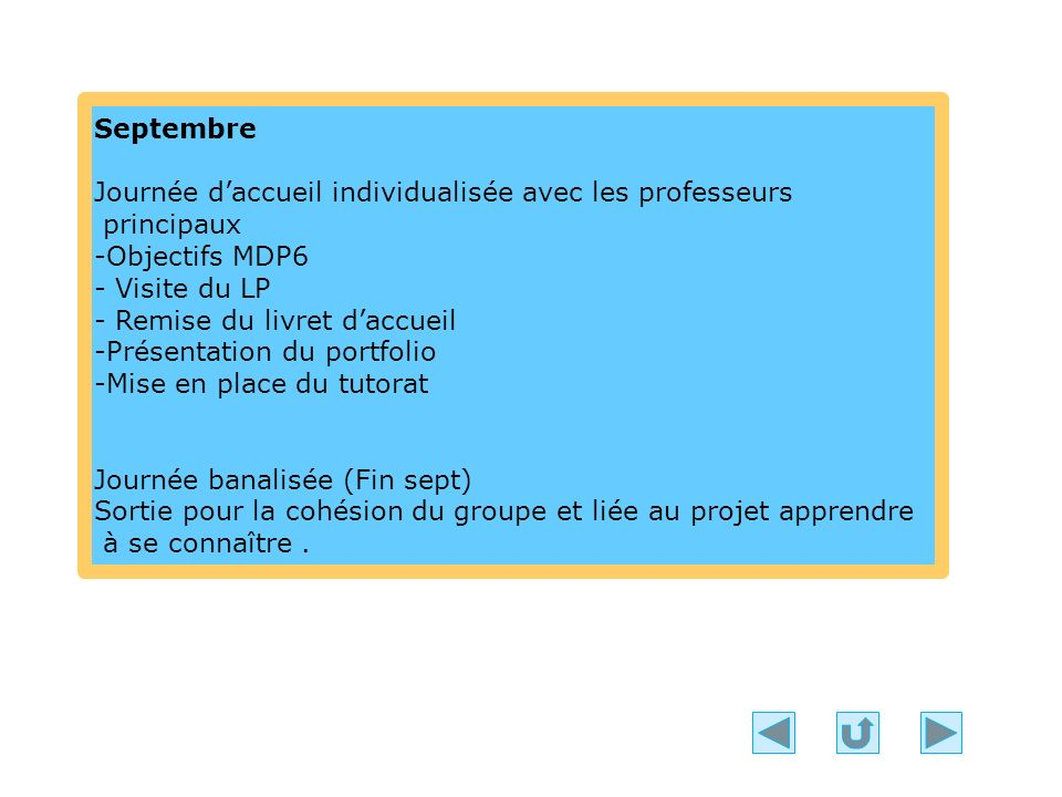 Septembre Journée d'accueil individualisée avec les professeurs. principaux. -Objectifs MDP6. - Visite du LP.
