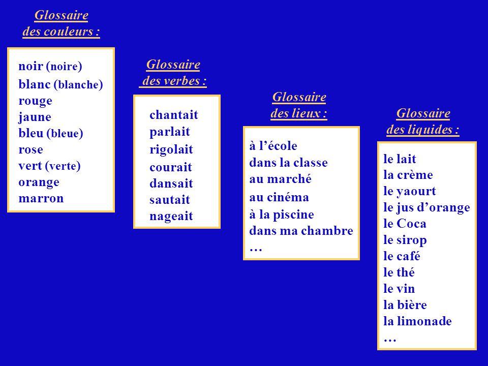 Glossaire des couleurs : noir (noire) blanc (blanche) rouge. jaune. bleu (bleue) rose. vert (verte)
