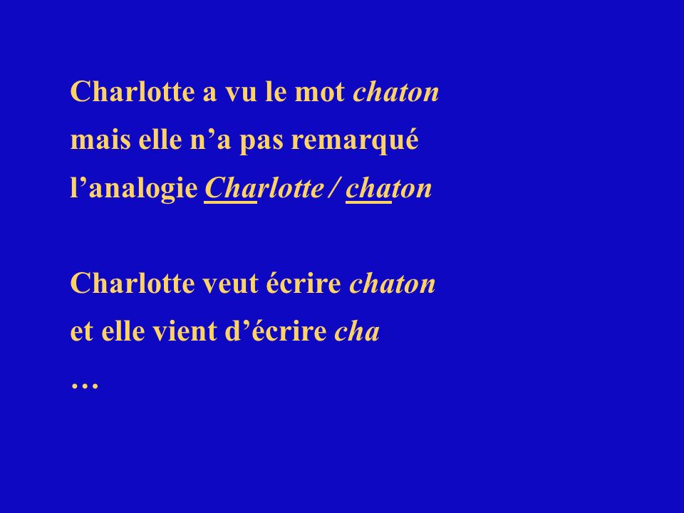 Charlotte a vu le mot chaton