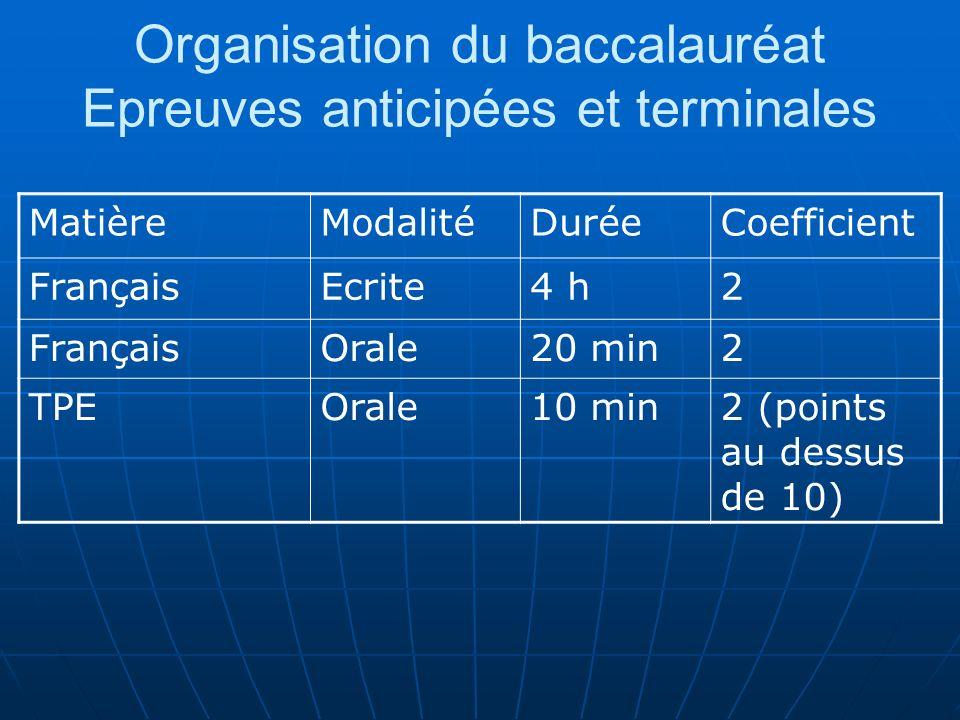 Organisation du baccalauréat Epreuves anticipées et terminales