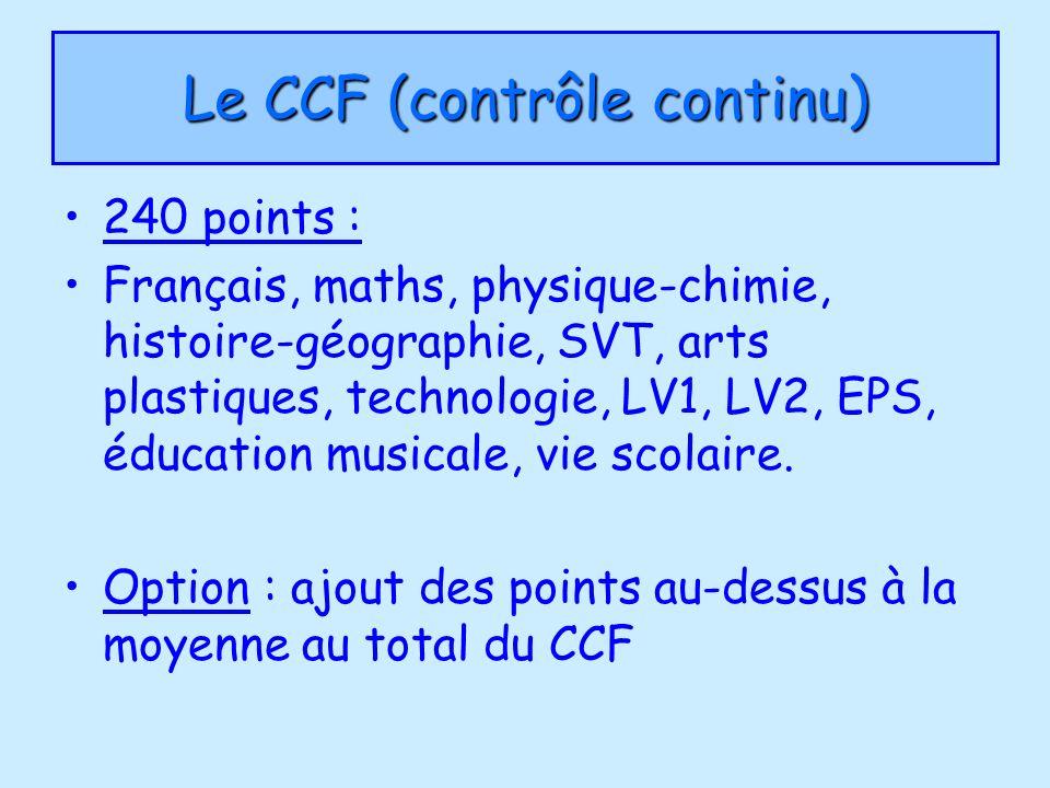 Le CCF (contrôle continu)