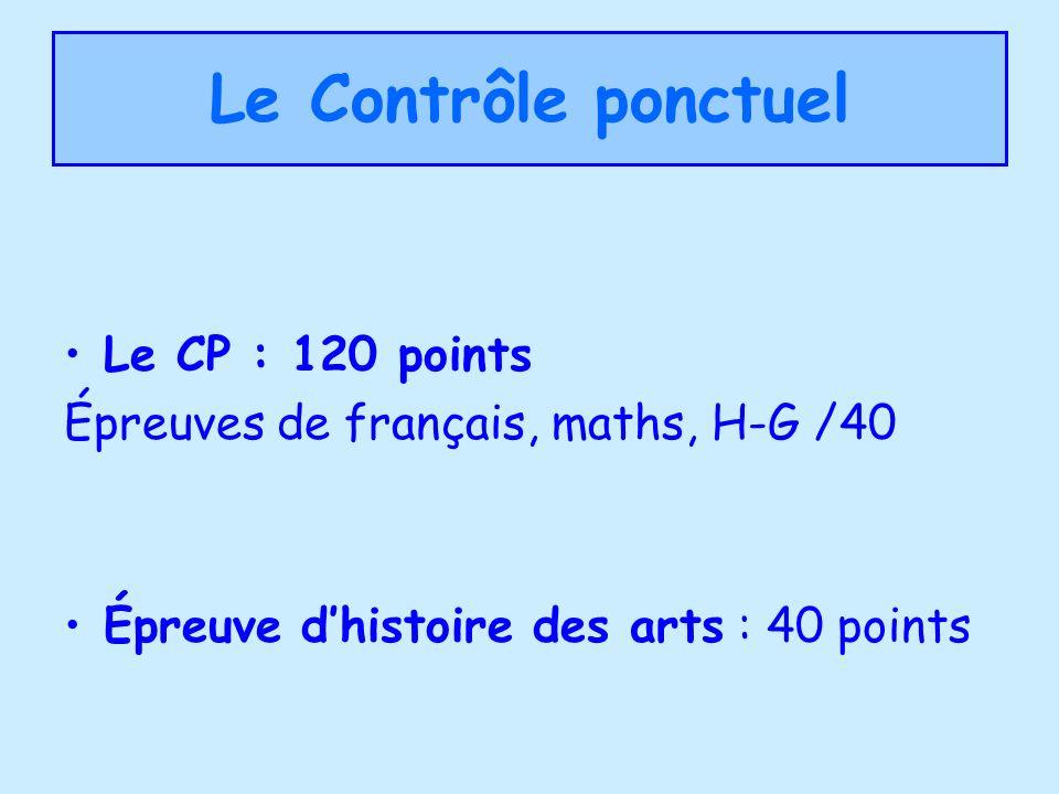 Le Contrôle ponctuel Le CP : 120 points