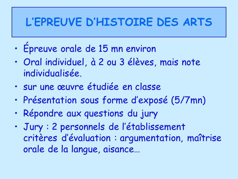 L'EPREUVE D'HISTOIRE DES ARTS
