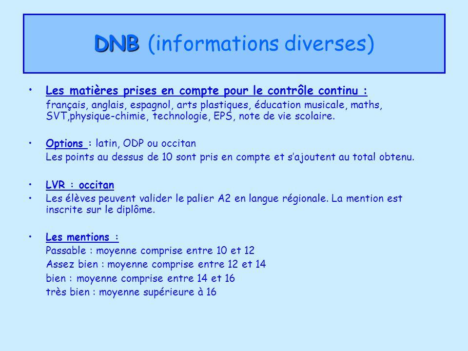 DNB (informations diverses)