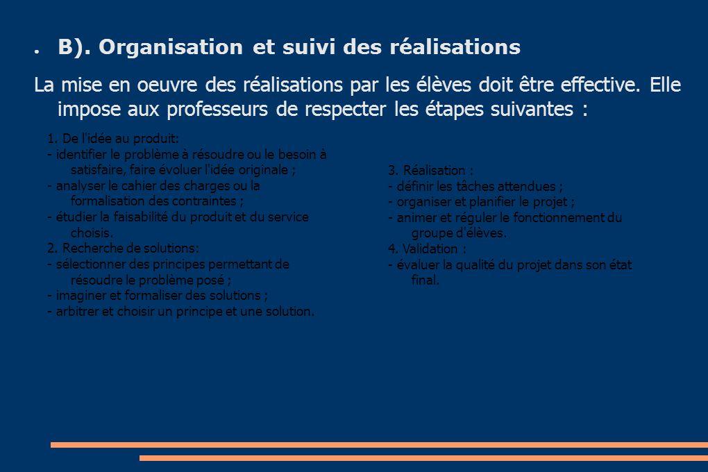 B). Organisation et suivi des réalisations