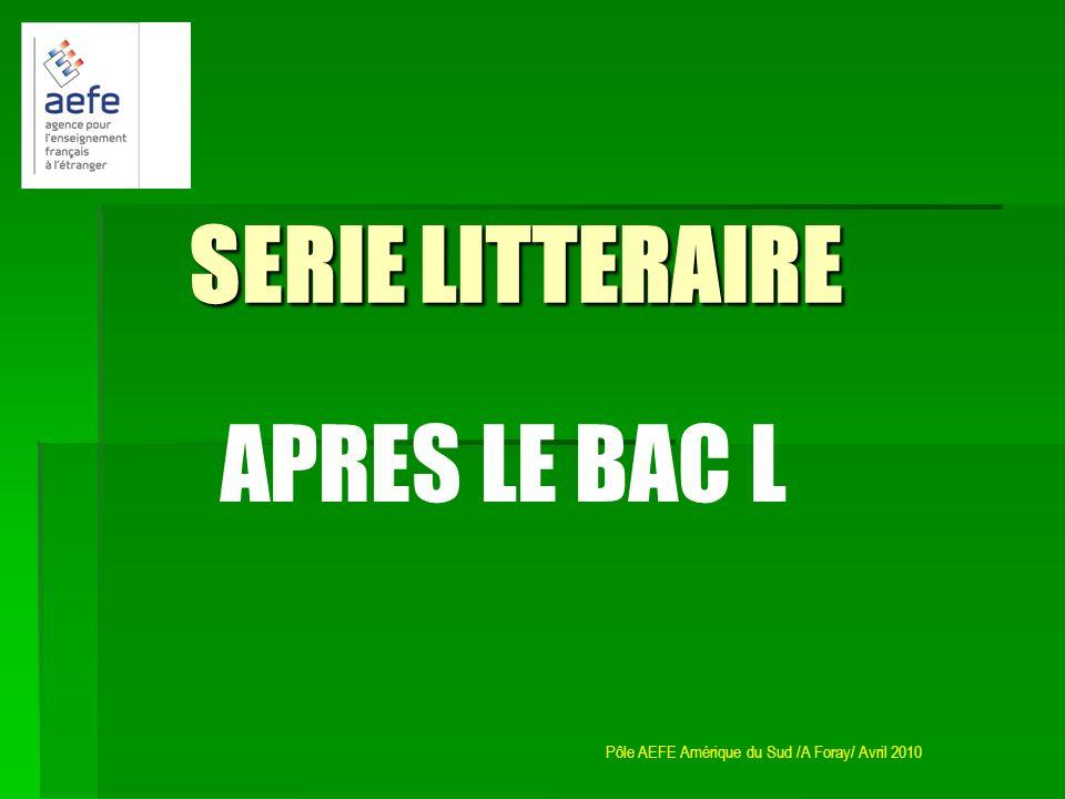 SERIE LITTERAIRE APRES LE BAC L
