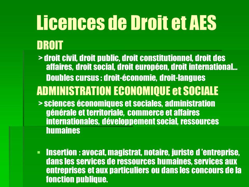 Licences de Droit et AES