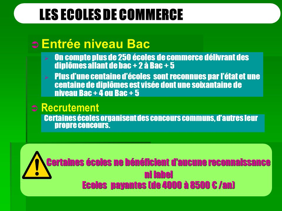 LES ECOLES DE COMMERCE Entrée niveau Bac Recrutement