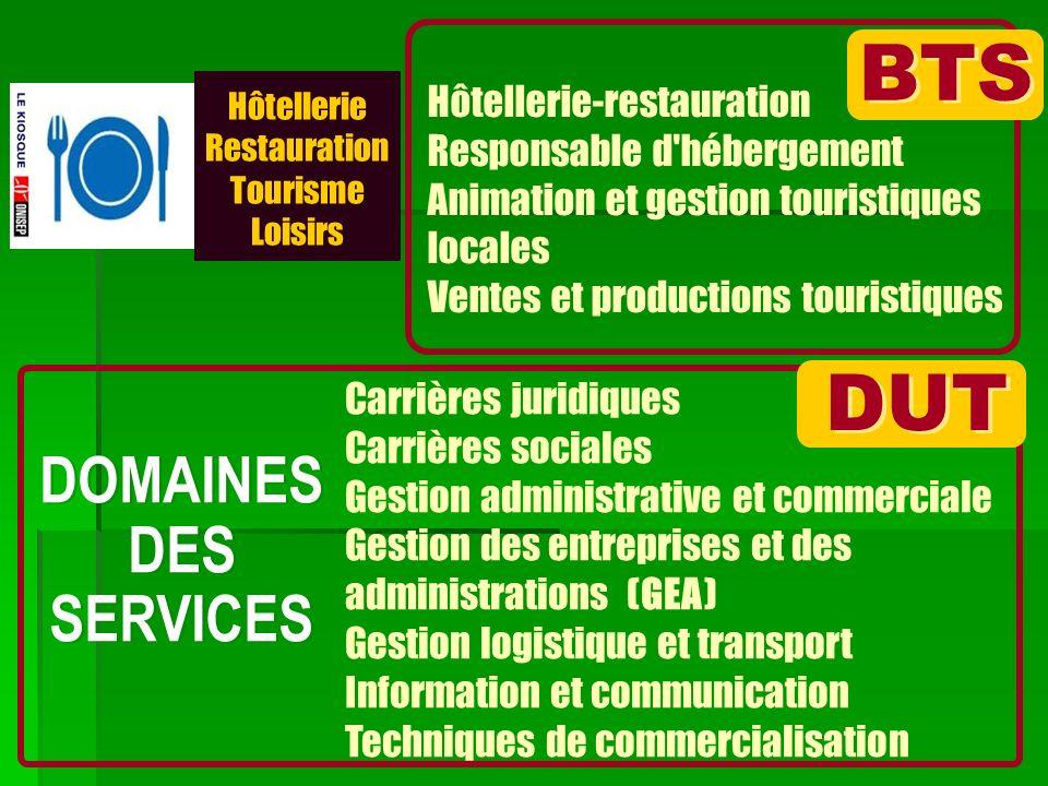 BTS DUT DOMAINES DES SERVICES Hôtellerie-restauration