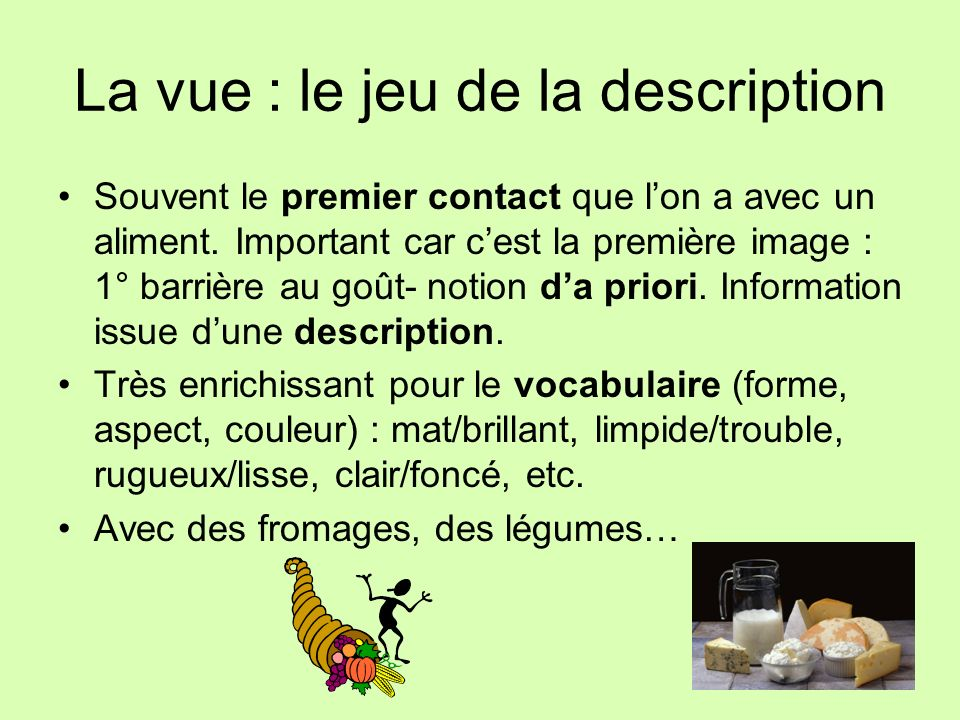 La vue : le jeu de la description