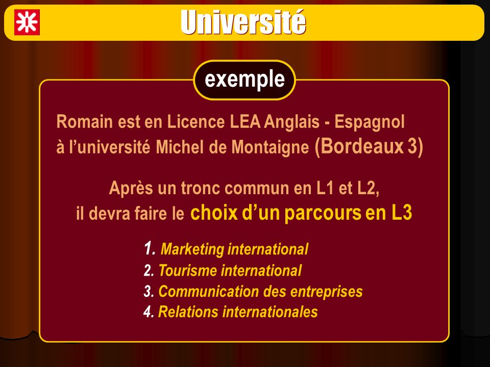 Université exemple Romain est en Licence LEA Anglais - Espagnol