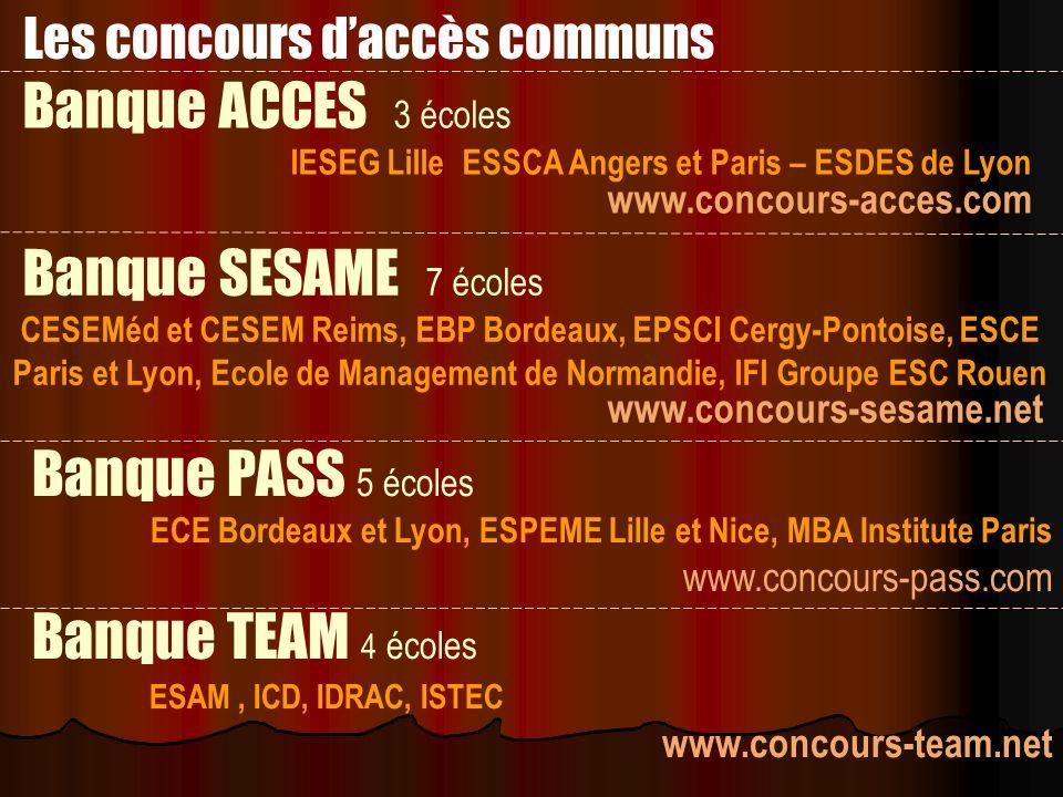 Les concours d'accès communs