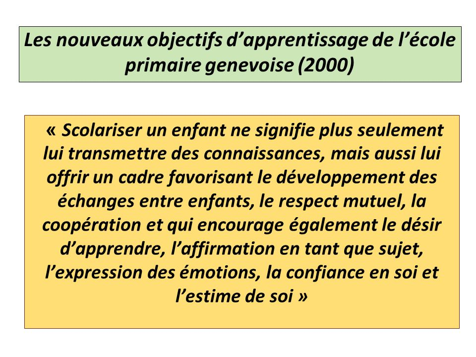Les nouveaux objectifs d'apprentissage de l'école primaire genevoise (2000)