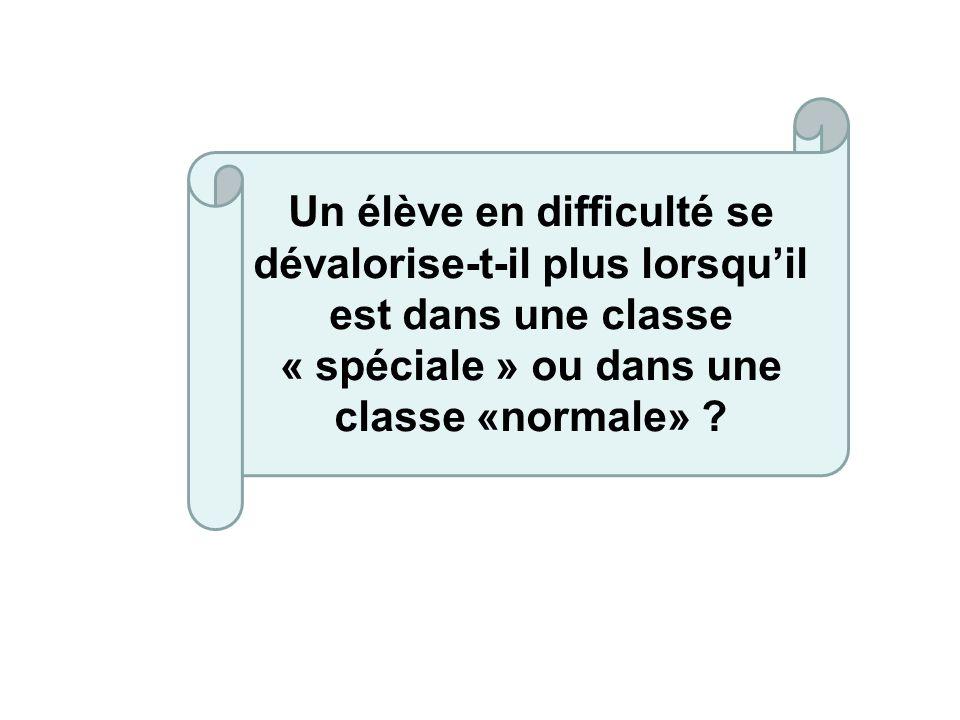 Un élève en difficulté se dévalorise-t-il plus lorsqu'il est dans une classe « spéciale » ou dans une classe «normale»