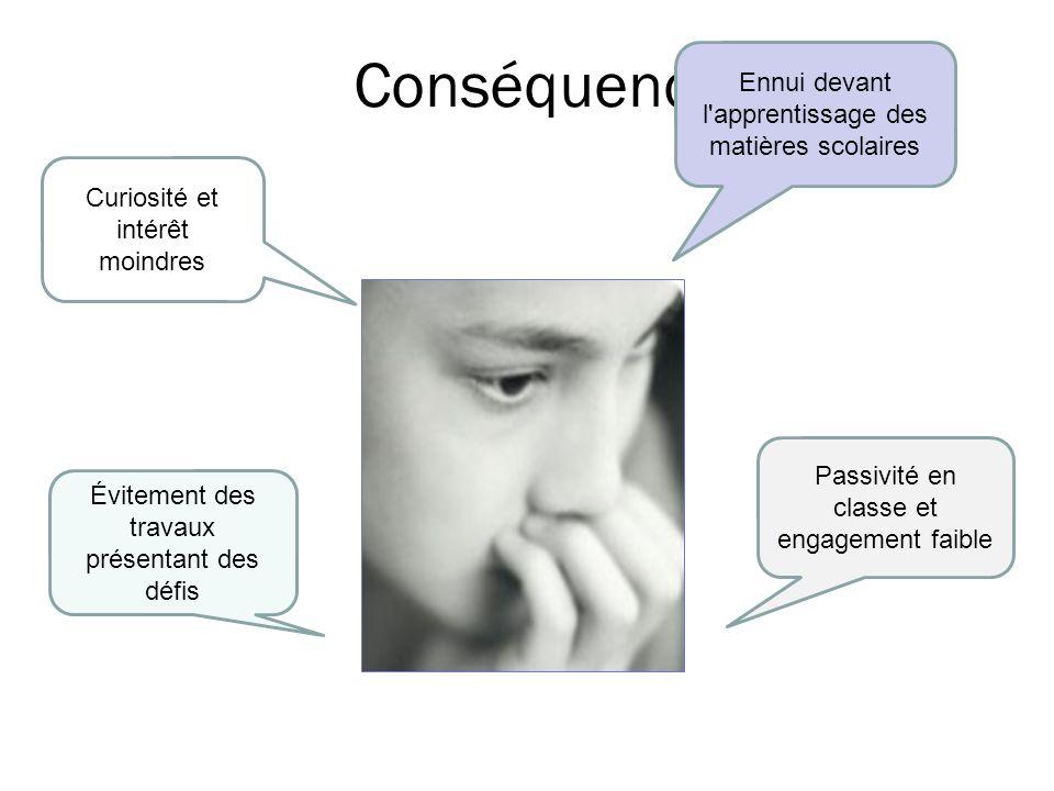 Conséquences Ennui devant l apprentissage des matières scolaires