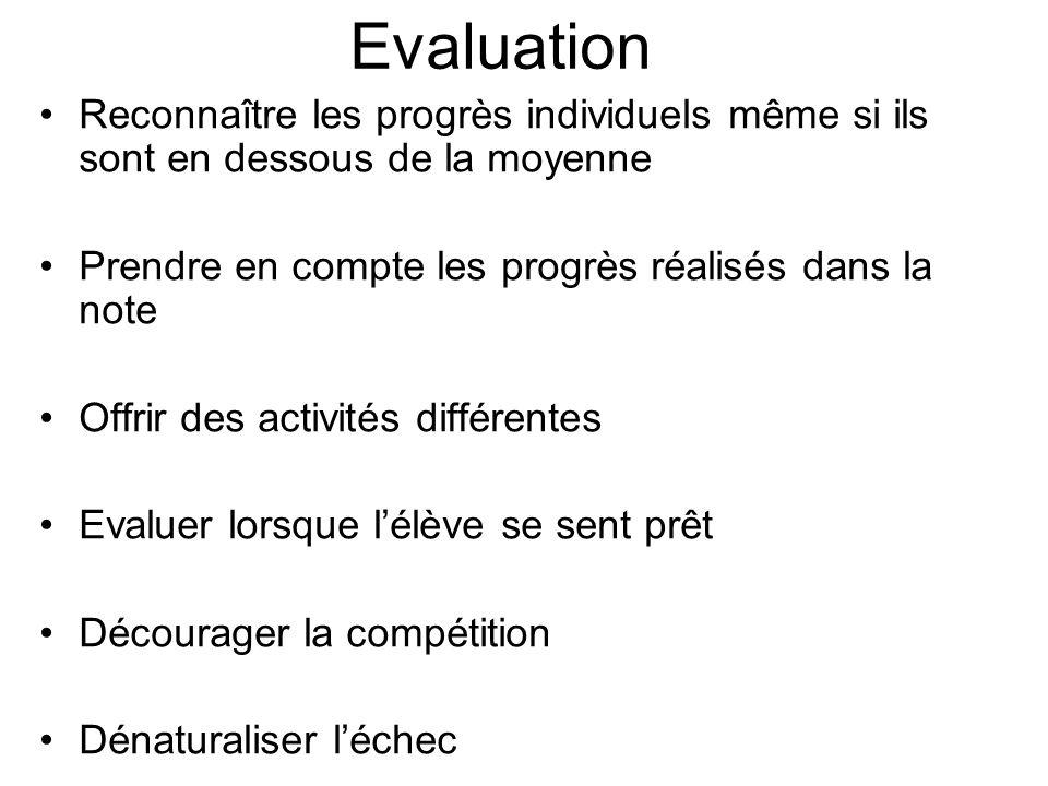 Evaluation Reconnaître les progrès individuels même si ils sont en dessous de la moyenne. Prendre en compte les progrès réalisés dans la note.