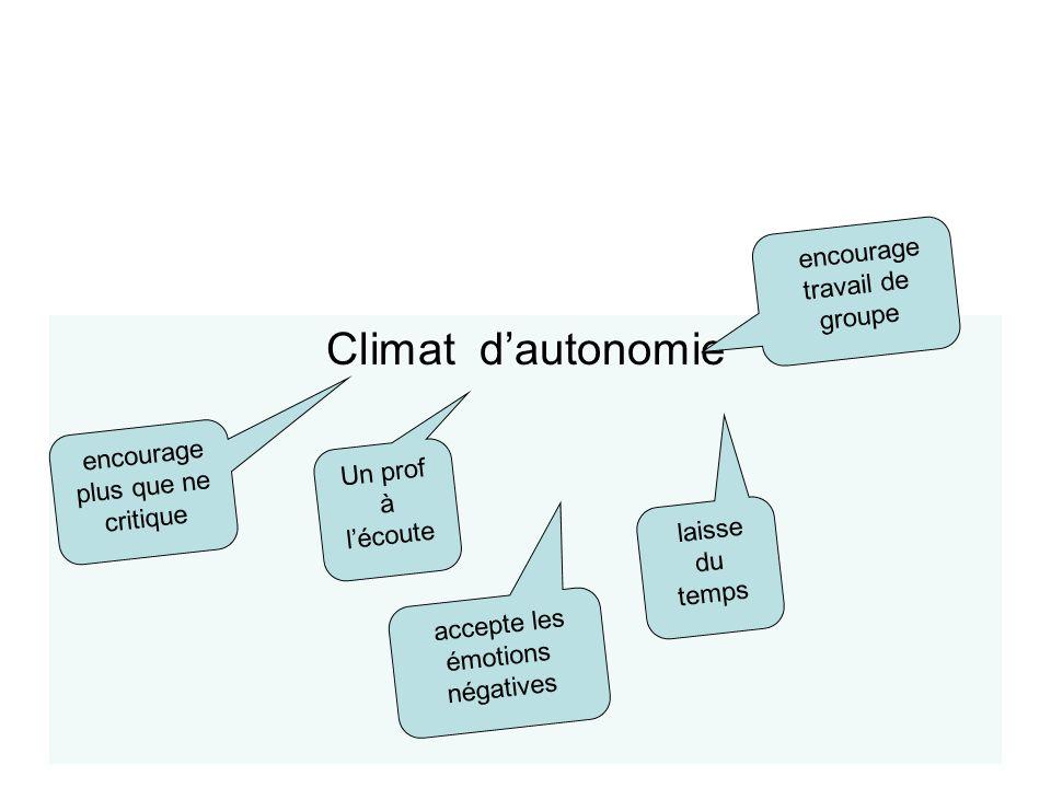 Typologie des climats Climat d'autonomie encourage travail de groupe