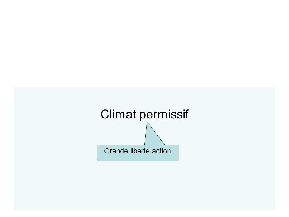 Typologie des climats Climat permissif Grande liberté action