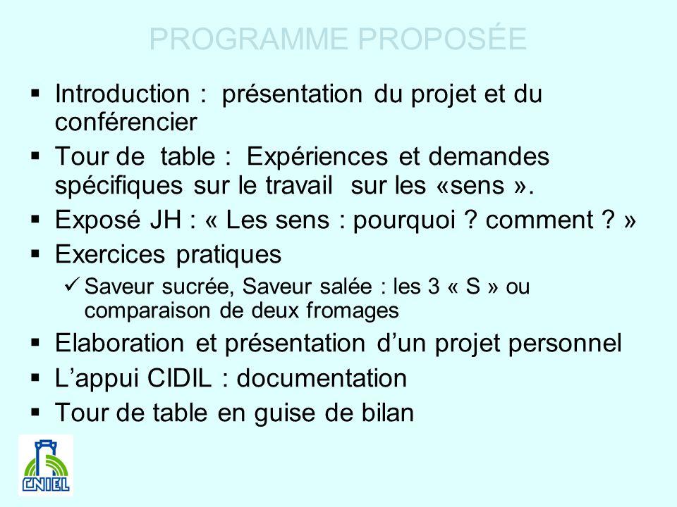 PROGRAMME PROPOSÉEIntroduction : présentation du projet et du conférencier.