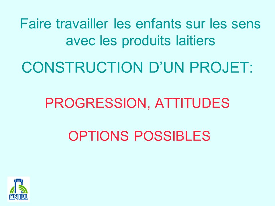 CONSTRUCTION D'UN PROJET: PROGRESSION, ATTITUDES OPTIONS POSSIBLES