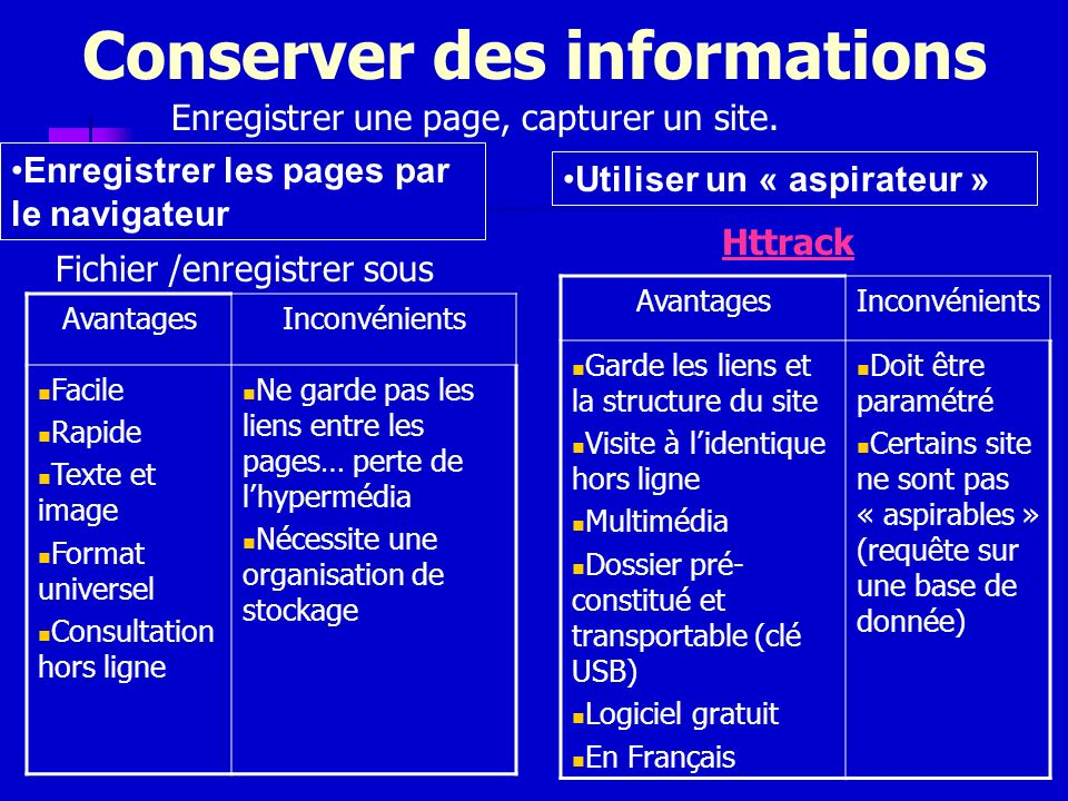 Conserver des informations