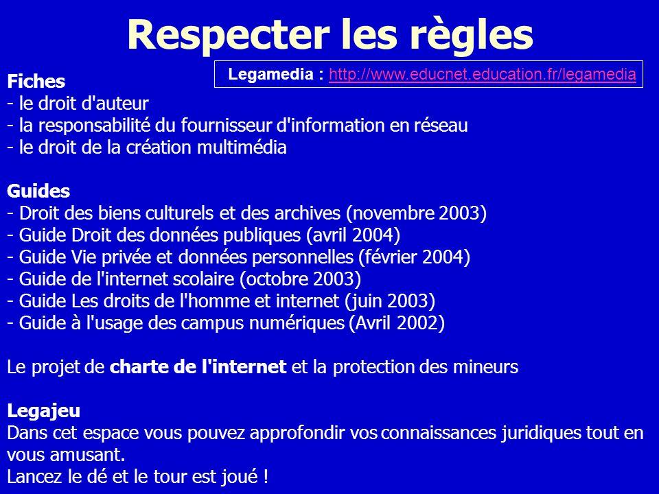 Respecter les règles Fiches - le droit d auteur