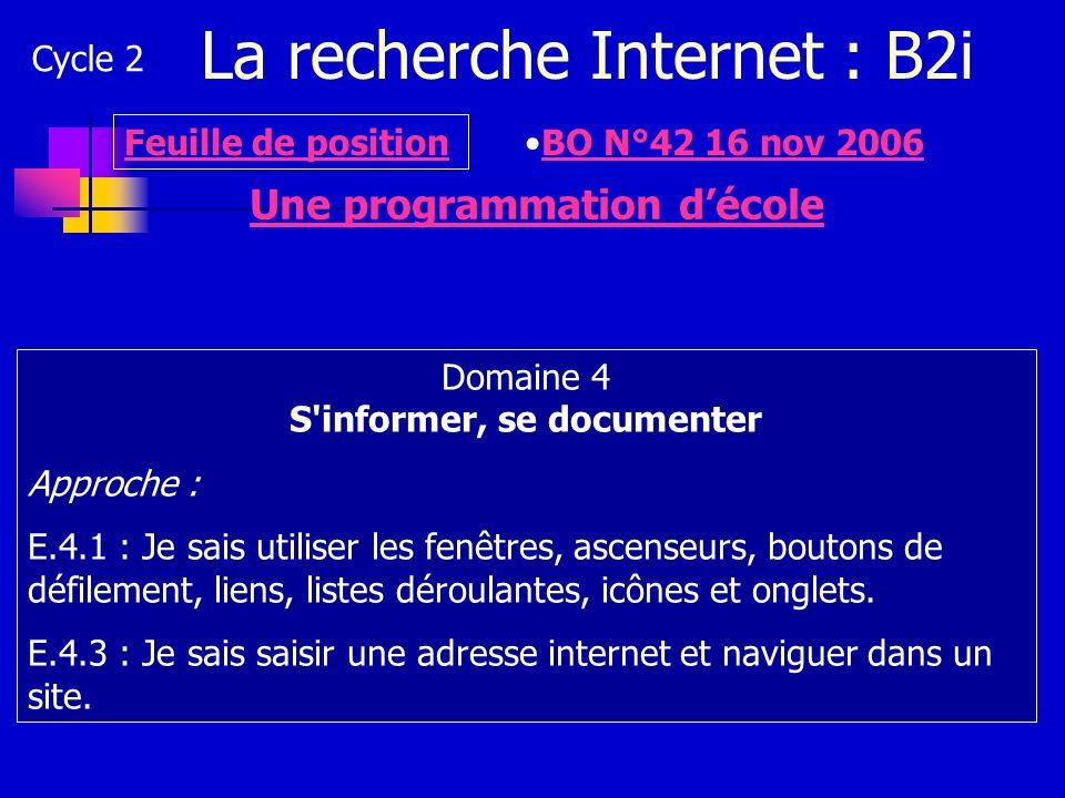 La recherche Internet : B2i