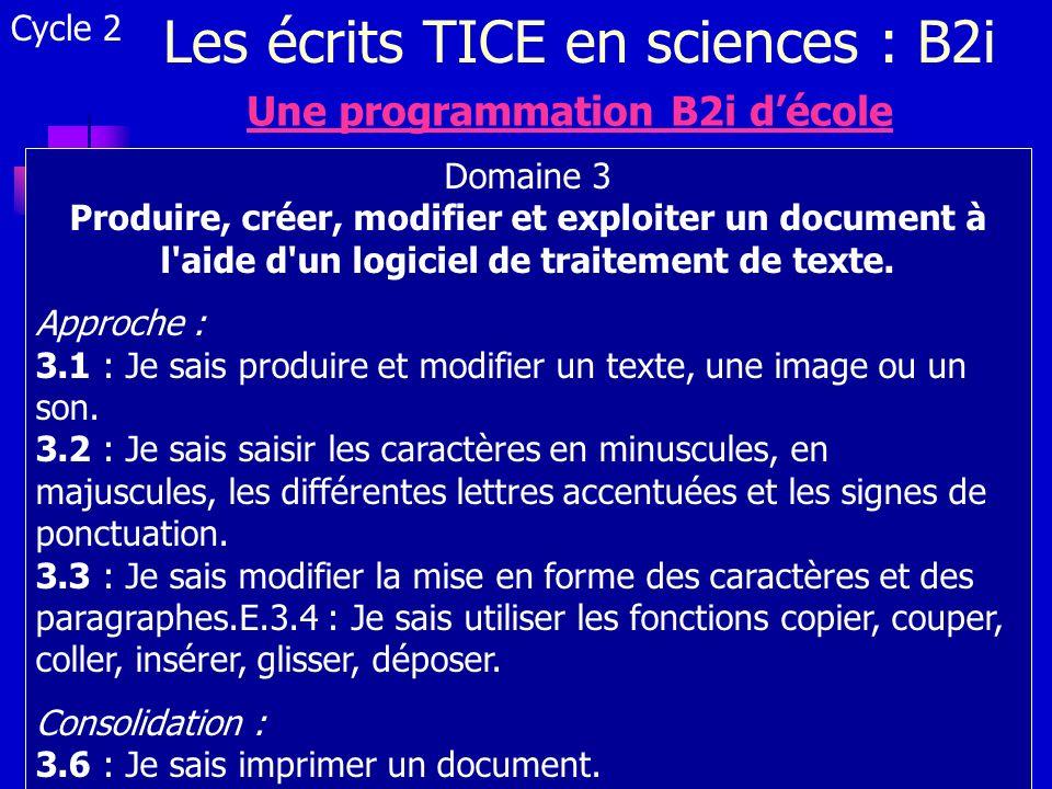 Les écrits TICE en sciences : B2i