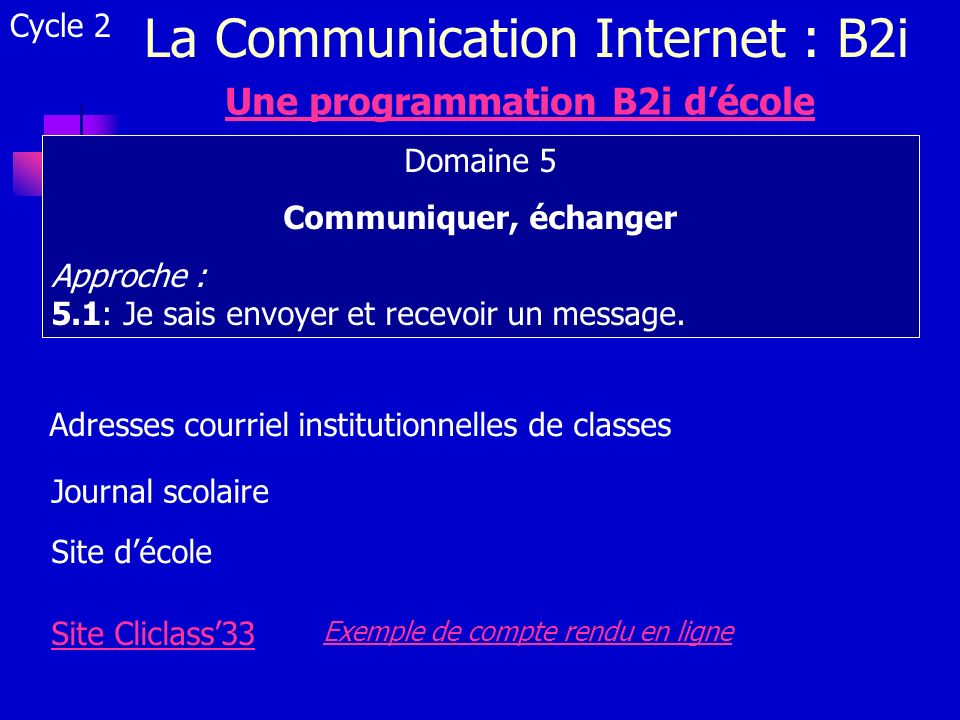La Communication Internet : B2i