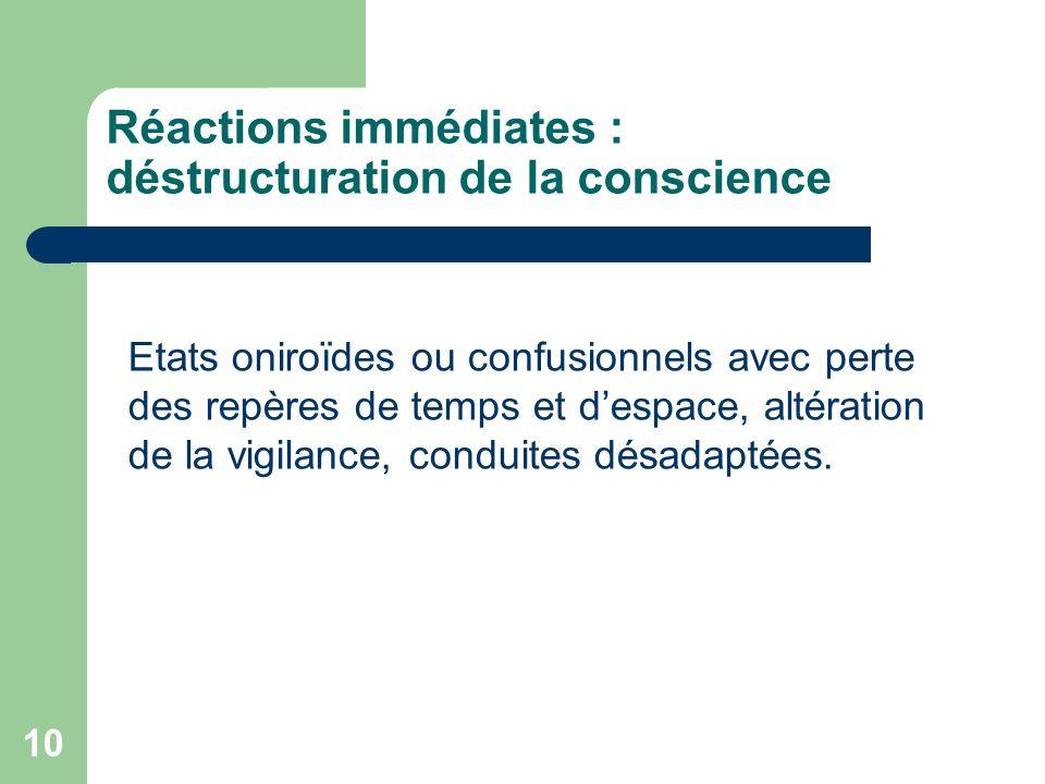 Réactions immédiates : déstructuration de la conscience