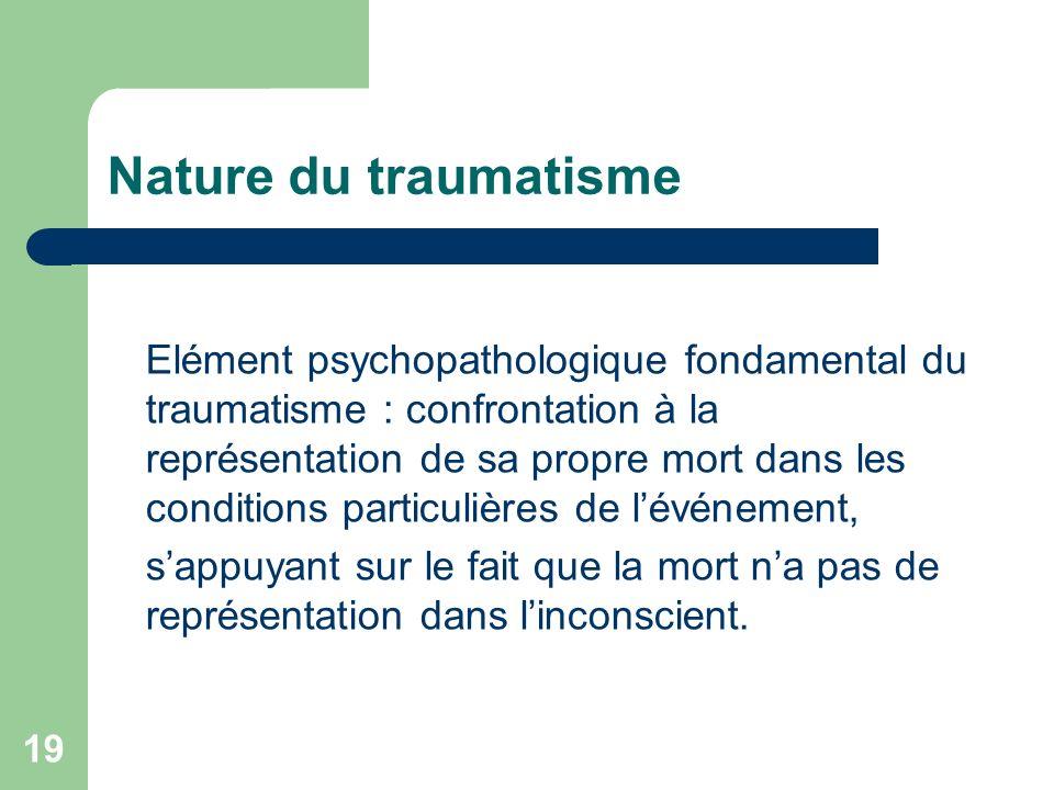 Nature du traumatisme