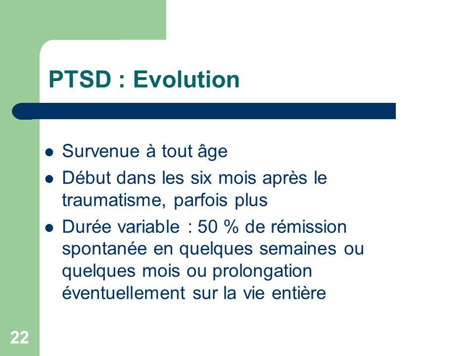 PTSD : Evolution Survenue à tout âge