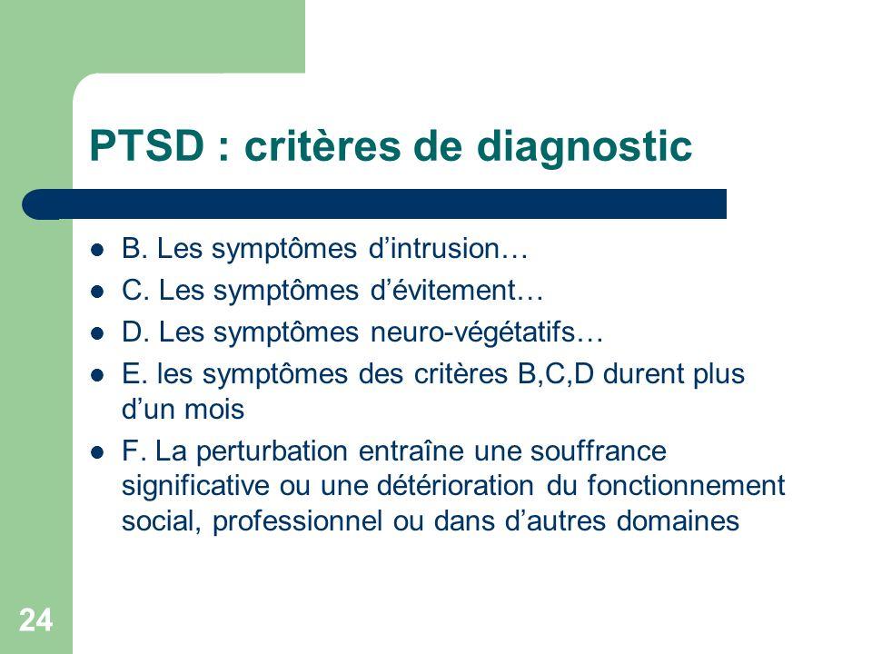 PTSD : critères de diagnostic