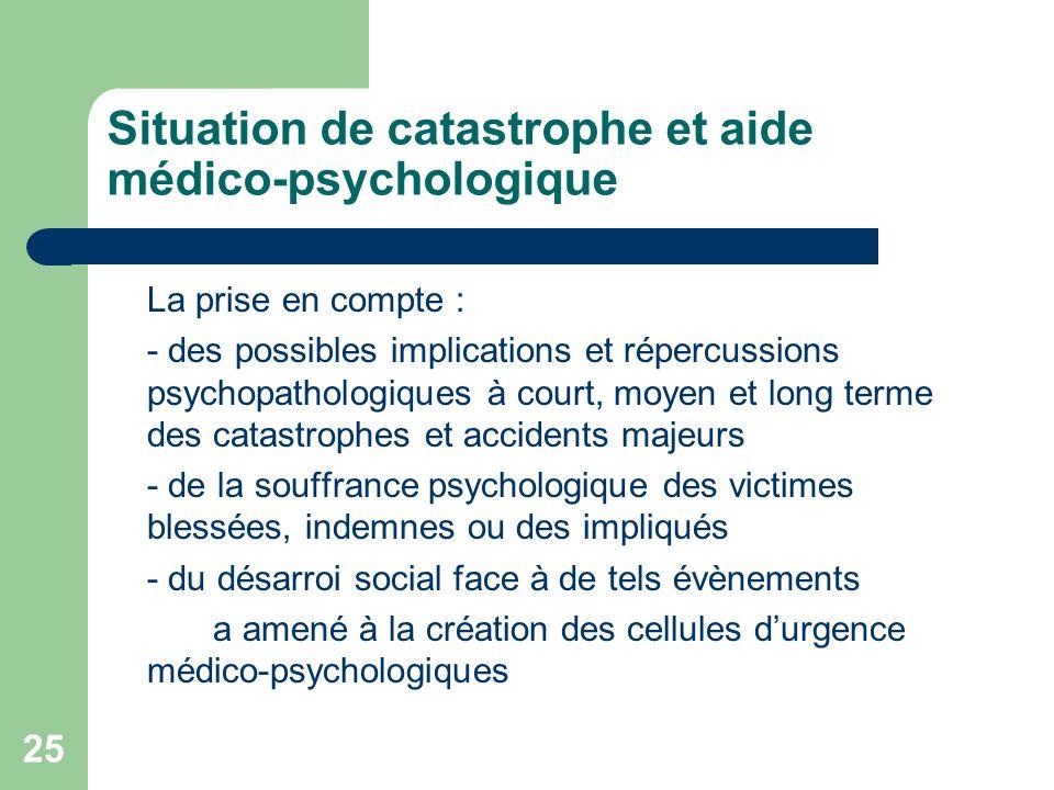 Situation de catastrophe et aide médico-psychologique