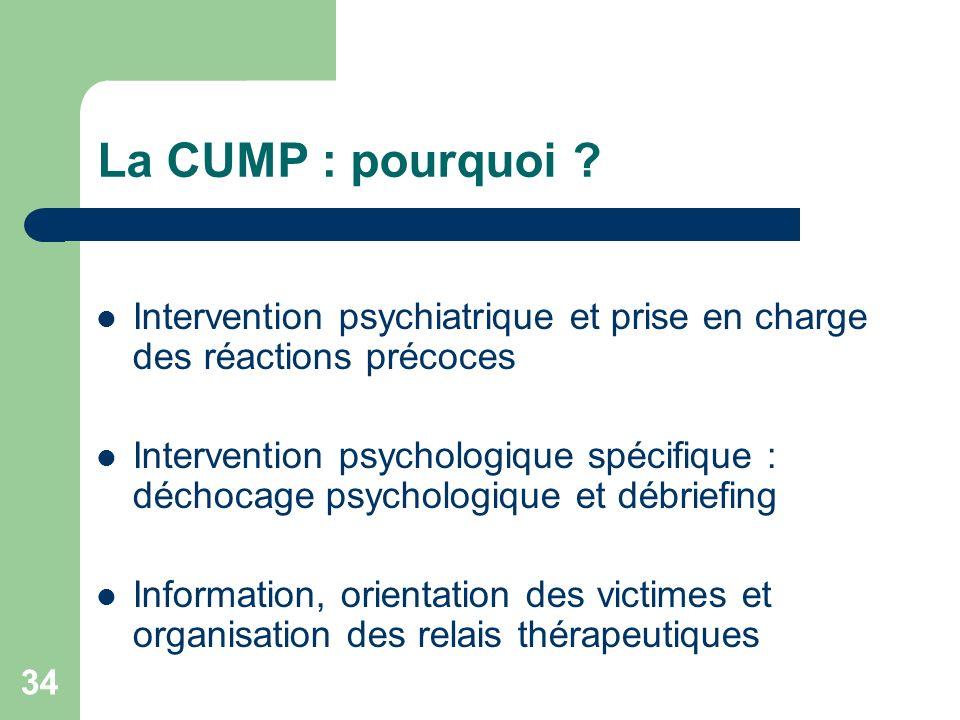 La CUMP : pourquoi Intervention psychiatrique et prise en charge des réactions précoces.