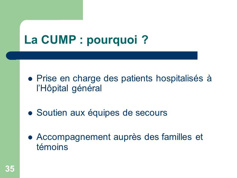 La CUMP : pourquoi Prise en charge des patients hospitalisés à l'Hôpital général. Soutien aux équipes de secours.