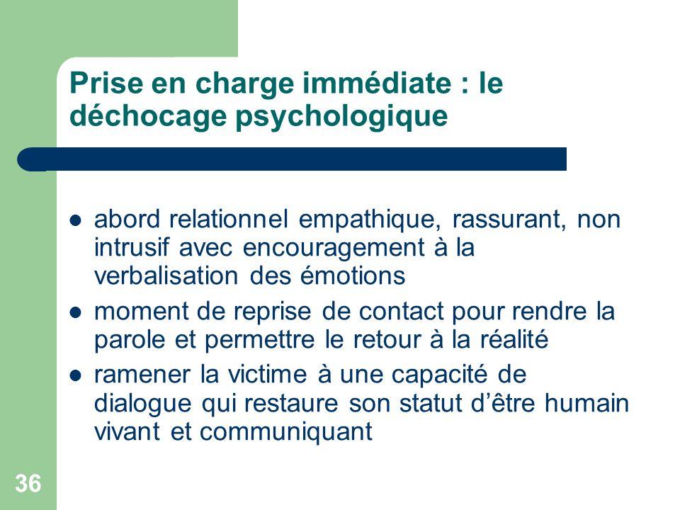 Prise en charge immédiate : le déchocage psychologique