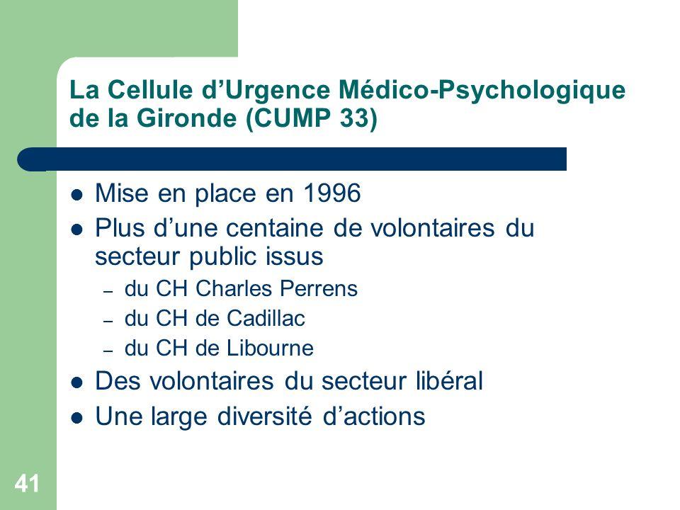 La Cellule d'Urgence Médico-Psychologique de la Gironde (CUMP 33)